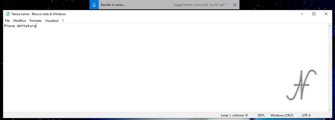 Scorciatoie Windows 10, dettatura comandi vocali, campo di testo, ascolto in corso