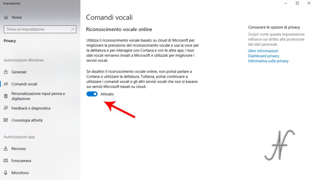 Scorciatoie Windows 10 dettatura comandi vocali, riconoscimento vocale online