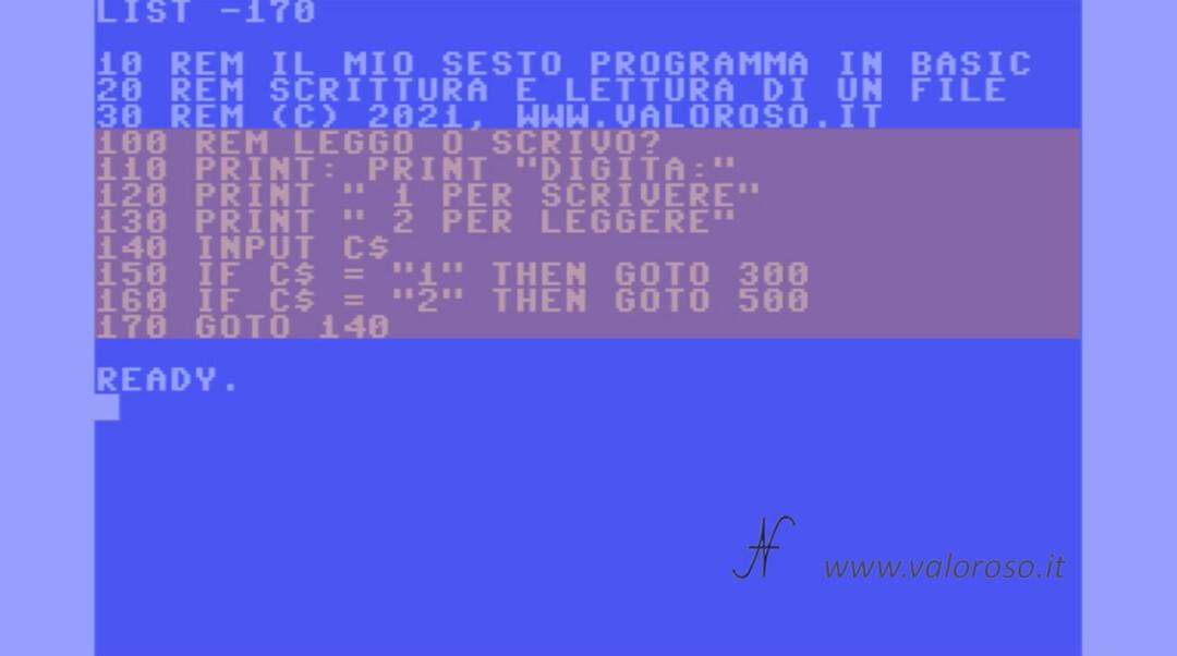 Scrivere e leggere un file in Basic, Commodore, QB64, PC-BASIC, corso programmazione Basic INPUT