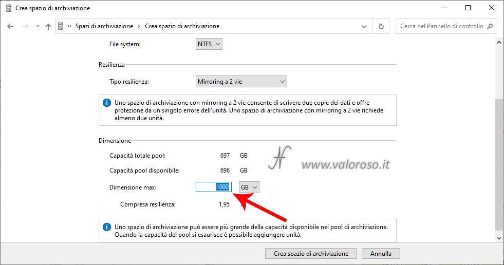 Spazi di Archiviazione Windows 10, creazione unità mirroring con capacità superiore agli hard disk del pool
