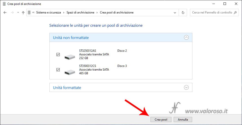 Spazi di Archiviazione Windows 10, seleziona unità hard disk, crea nuovo pool di archiviazione