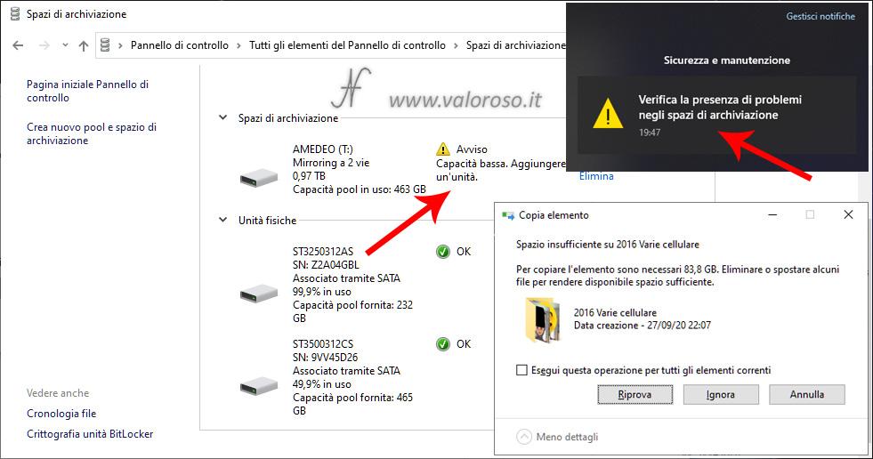 Spazi di Archiviazione Windows 10, unità mirroring con capacità superiore agli hard disk, spazio insufficiente: aggiungere hard disk
