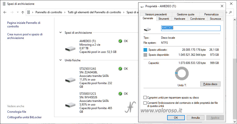 Spazi di Archiviazione Windows 10, creazione unità mirroring con capacità superiore agli hard disk