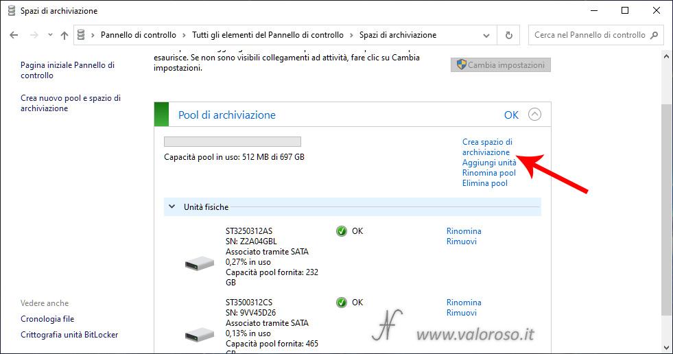 Spazi di Archiviazione, due unità mirroring nello stesso pool di archiviazione, Windows 10