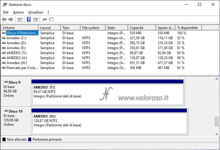 Due unità mirroring stesso pool di archiviazione, gestione disco, Windows 10