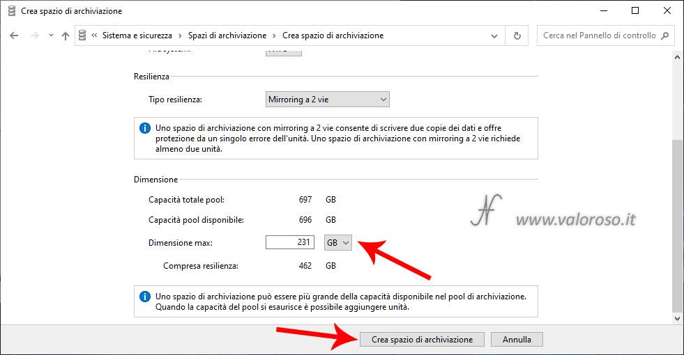 Spazi di Archiviazione, creazione mirroring a 2 vie, dimensione massima unita virtuale sicurezza guasti dati ridondanza Windows 10, crea spazio di archiviazione