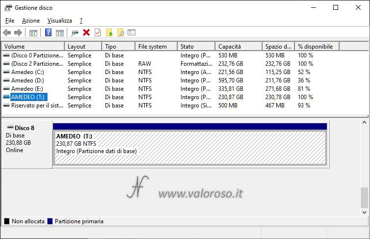 Spazi di Archiviazione, mirroring a 2 vie, pool archiviazione creato, unità virtuale gestione disco, Windows 10