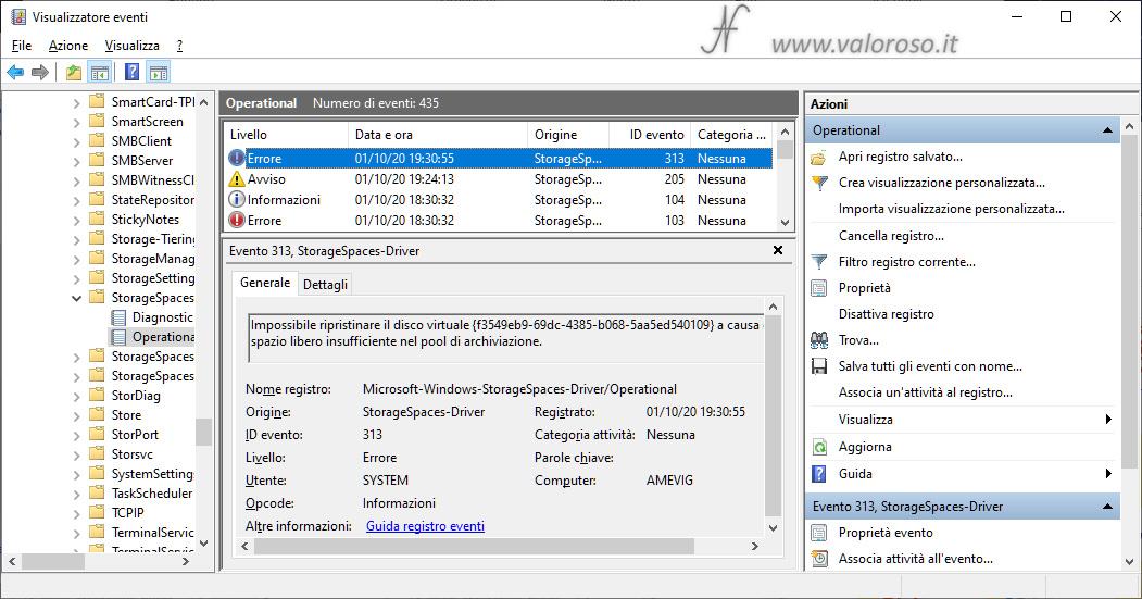 Spazi di Archiviazione, mirroring, errore 313 visualizzatore eventi Windows 10, storagespaces-driver, registri applicazioni e servizi, microsoft, windows
