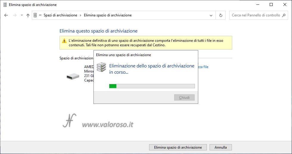 Eliminazione Spazi di Archiviazione di Windows 10, mirroring, rimozione eliminazione pool, eliminazione spazio archiviazione