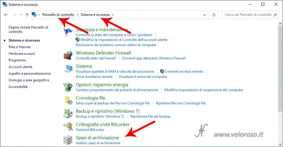 Spazi di Archiviazione, mirroring volumi raid sicurezza dati ridondanza, Windows 10, pannello di controllo, sistema e sicurezza