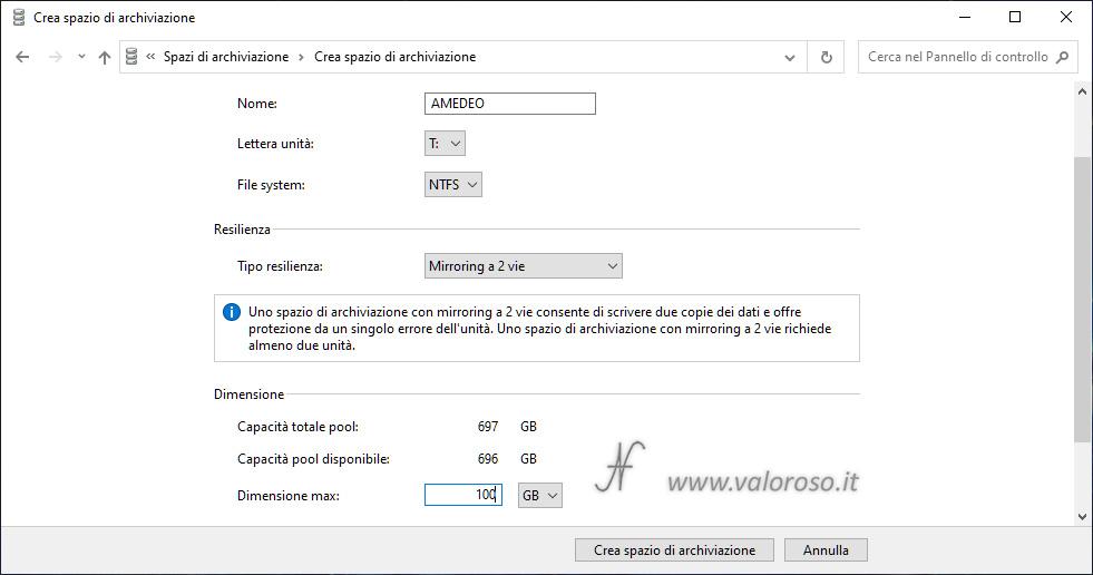 Spazi di Archiviazione, prima unità virtuale mirroring nello stesso pool di archiviazione, Windows 10, mirroring a 2 vie