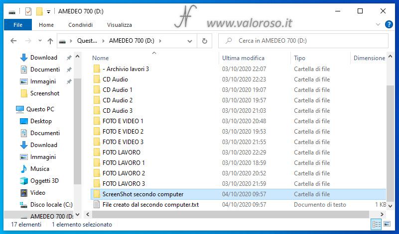 Spazio di Archiviazione, Windows 10, spostamento hard disk su altro computer, copia file