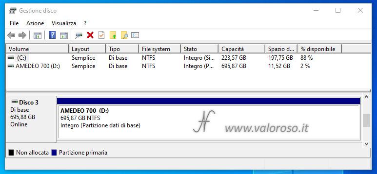 Spazio di Archiviazione, Windows 10, spostamento hard disk su altro computer, gestione disco