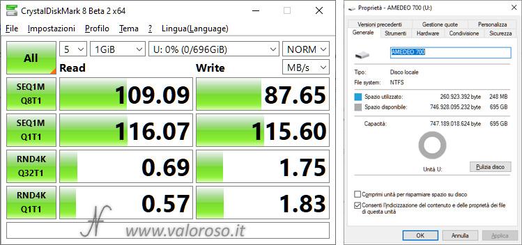 Spazio di Archiviazione, semplice nessuna resilienza, confronto performance, unità virtuale, Windows 10
