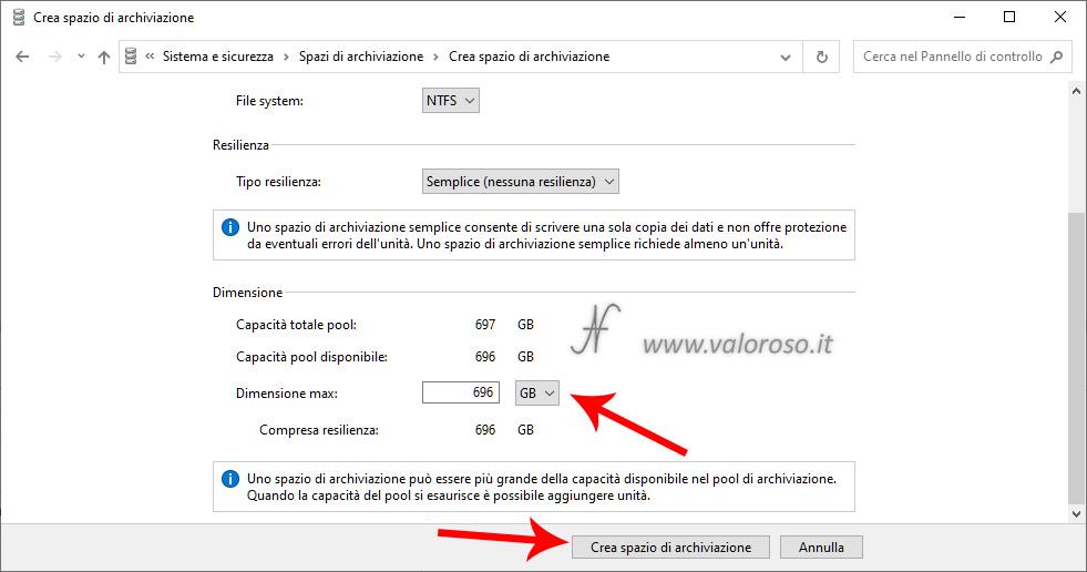 Spazio di Archiviazione, semplice nessuna resilienza, creazione spazio di archiviazione, dimensione massima, Windows 10