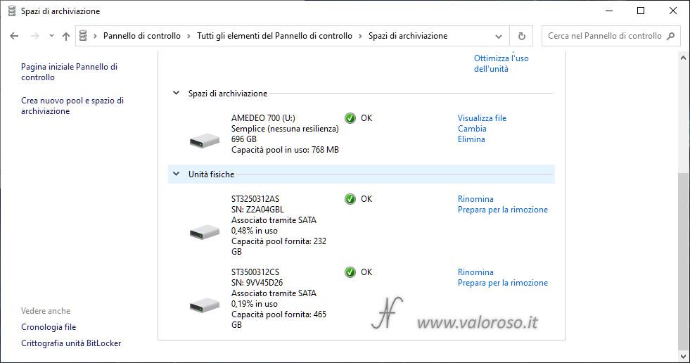 Spazio di Archiviazione, semplice nessuna resilienza, spazio creato, unità virtuale, somma capacità, Windows 10
