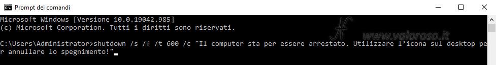 Spegnere automaticamente il PC Windows 10 orario stabilito, shutdown /s /f /t /c -s -f -t -c