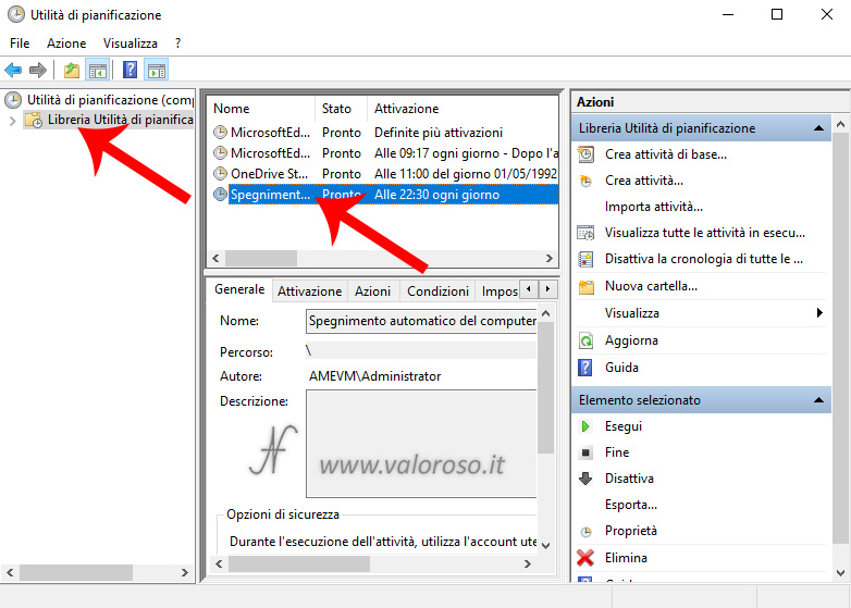 Spegnere automaticamente il PC ad un orario stabilito programmato impostato definito, operazioni pianificate, libretia utilita di pianificazione