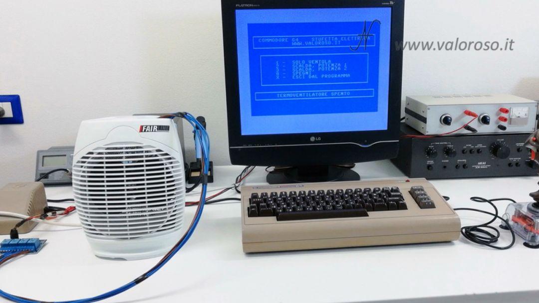 Stufetta elettrica collegata comandata user port del Commodore 64 basic termoventilatore, joystick