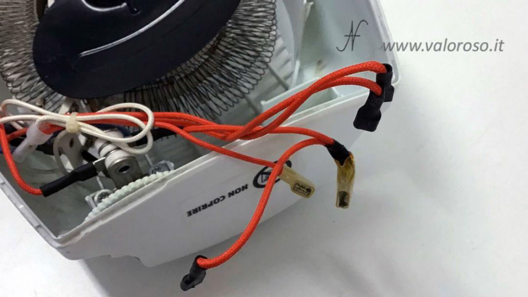 Stufetta elettrica collegata user port Commodore 64 sostituzione interruttore selettore comandi accensione ventola termoventilatore resistenza motore