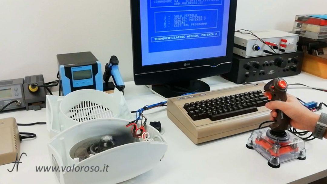 Stufetta elettrica collegata user port Commodore 64 termoventilatore comandato joystick