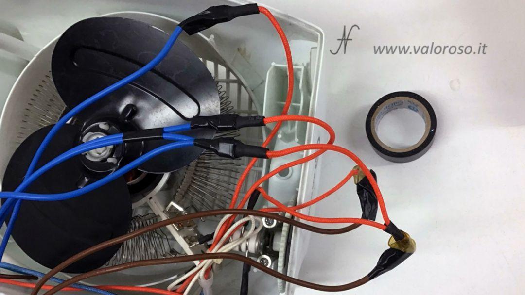 Stufetta elettrica comandata user port Commodore 64 interruttore selettore comandi accensione ventola termoventilatore resistenza motore, nastro isolante