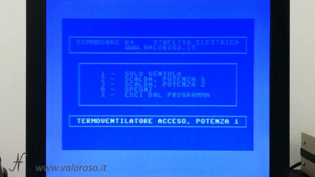 Stufetta elettrica termoventilatore user port Commodore 64 programma basic controllo gestione