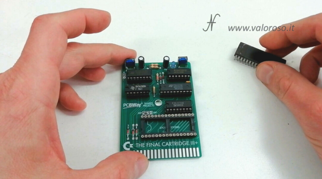 The Final Cartridge III 3 Plus interface Commodore 64 insert IC into the socket