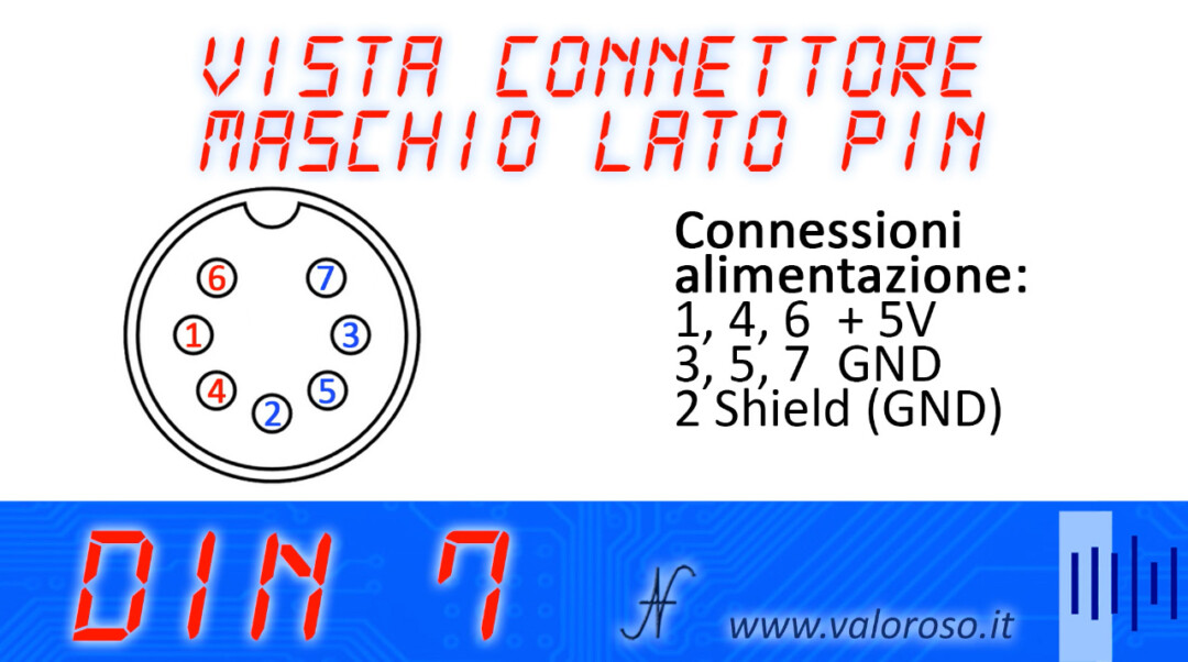 Atari 800XL 5V power supply transformer pinout 7-pole DIN connector contact pinout, + 5V GND shield