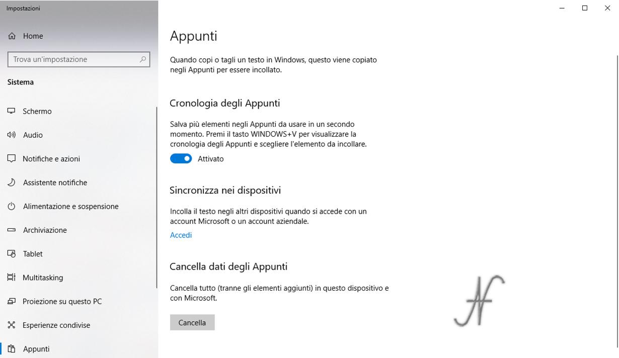 Trucchi utili per Windows 10, cronologia degli appunti, impostazioni, Windows + V