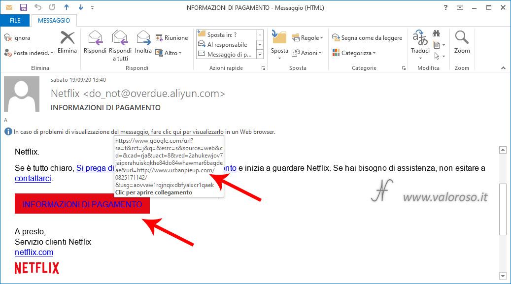 Truffa NetFlix informazioni di pagamento, messaggio, eMail, phishing, come proteggersi, evitare, attenzione
