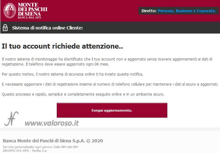 Truffa banca Monte dei Paschi di Siena, eMail, come proteggersi, evitare, attenzione