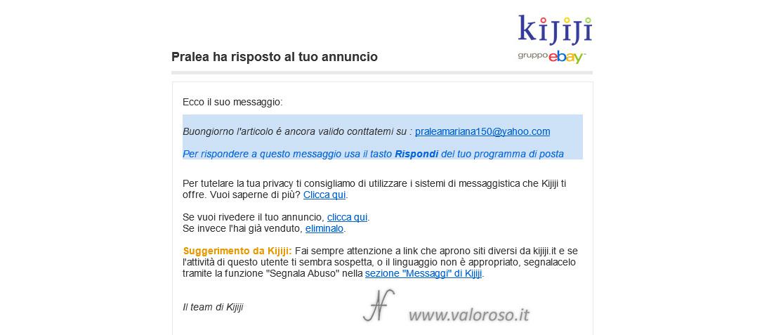 Truffa Subito Kijiji Facebook Marketplace, messaggio email, come proteggersi, evitare, attenzione