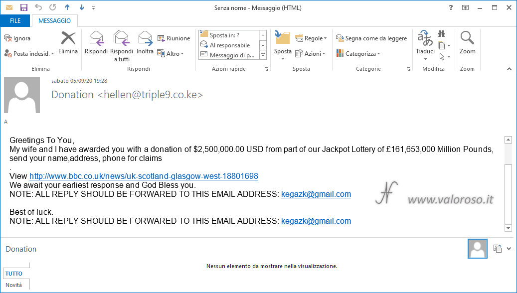 Truffa eMail, posta, messaggio, phishing, lotteria jackpot, vincita, guadagno, come proteggersi, evitare, attenzione