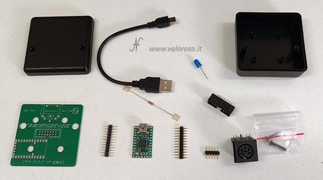 Come costruire uno XUM1541, Tutorial montaggio XUM1541 Commodore 1541 USB C64, Teensy2 Faszination componenti, adattatore USB IEC eBay IEC