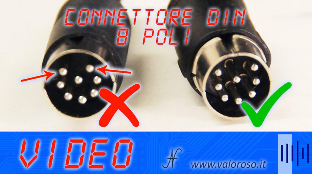 Uscita video del Commodore 16, 64 e 128 connettore DIN 8 poli DIN8 circolare rotondo 262 gradi 360 gradi cerchio