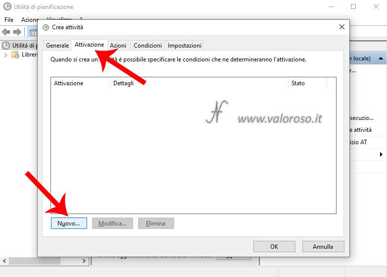 Utilita di pianificazione Windows 10, Crea attivita, Attivazione, Nuovo, spegnere il computer ad un orario impostato programmato definito settato