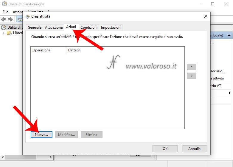 Utilita di pianificazione Windows 10, Crea attivita, Azioni, Nuova, Operazione, Spegnere automaticamente il PC ad un orario stabilito