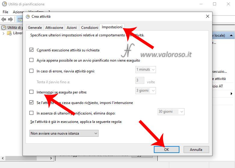Utilita di pianificazione Windows 10, Crea attivita, Impostazioni, Interrompi se seguita per oltre, consenti esecuzione attivita su richiesta