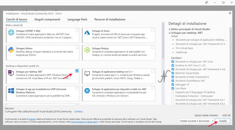 VB.NET 2019, Microsoft Visual Studio 2019, installazione applicazione Sviluppo per desktop .NET, installare gratuitamente Visual Basic