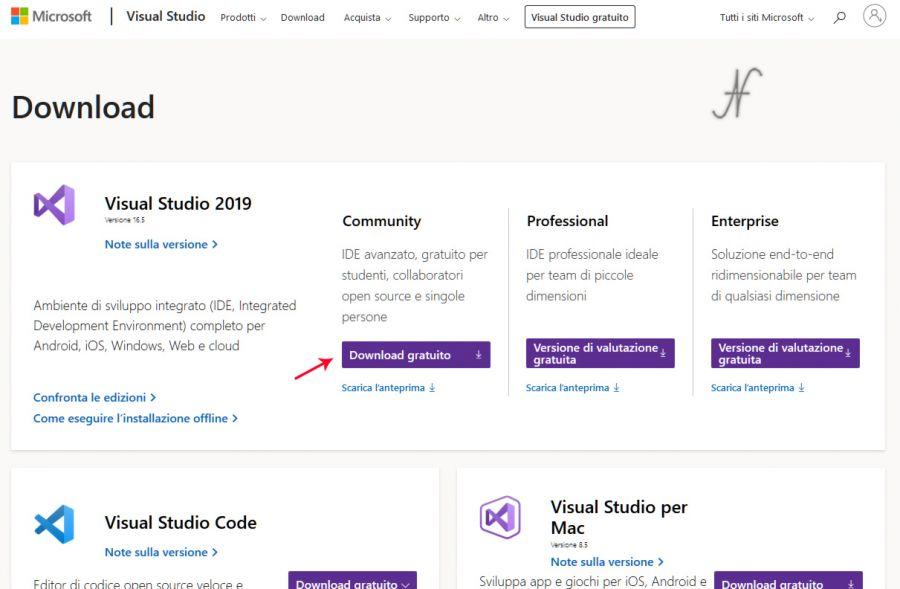 VB.NET, Visual Studio 2019, download gratuito, community Microsoft, programmazione, imparare a programmare, installare gratuitamente Visual Basic