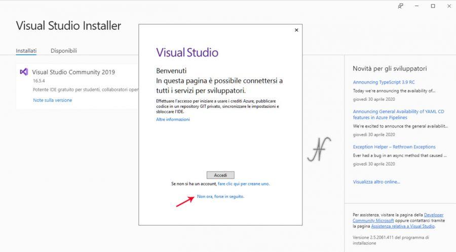 VB.NET, Visual Studio 2019, installazione, connettersi servizi sviluppatori, imparare a programmare, installare