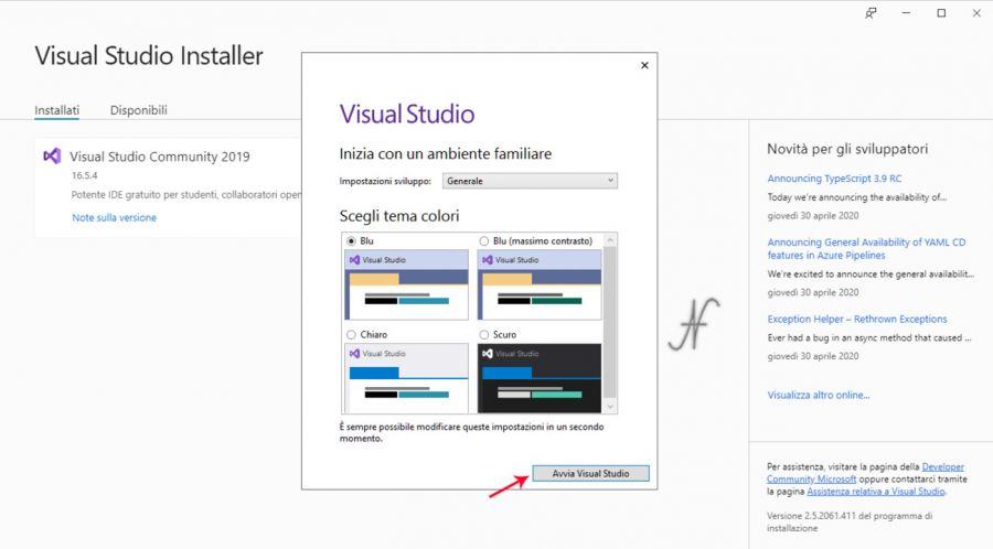 VB.NET, Visual Studio 2019, installazione, scelta tema colori, imparare a programmare
