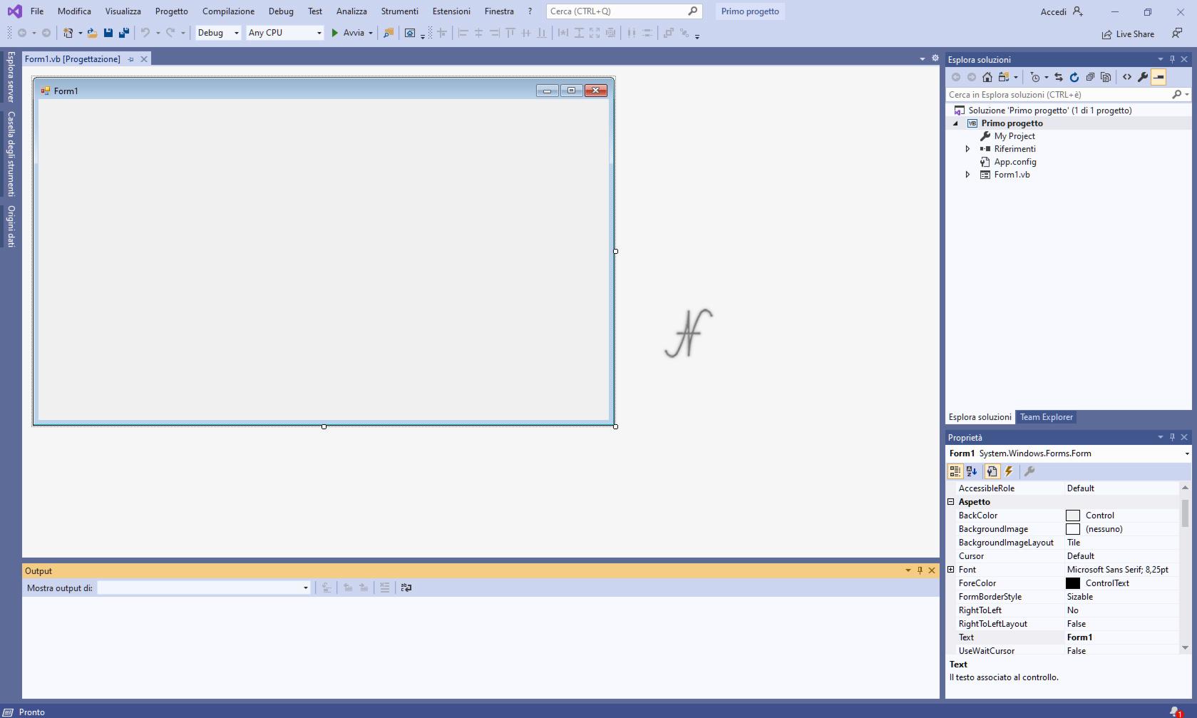 VB.NET, Visual Studio 2019, nuovo progetto windows forms, .NET framework, imparare a programmare con Visual Basic