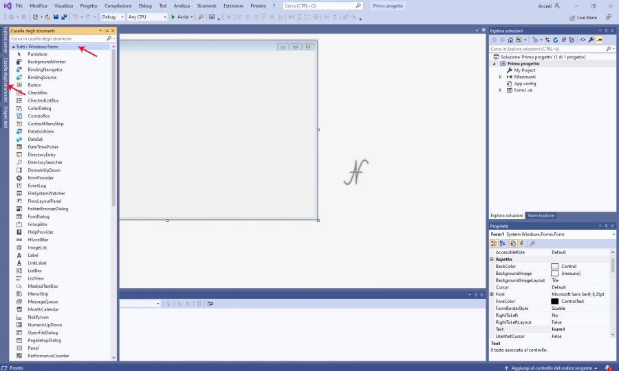 VB.NET, Visual Studio 2019, nuovo progetto windows forms, .NET framework, caselle degli strumenti, imparare a programmare con Visual Basic
