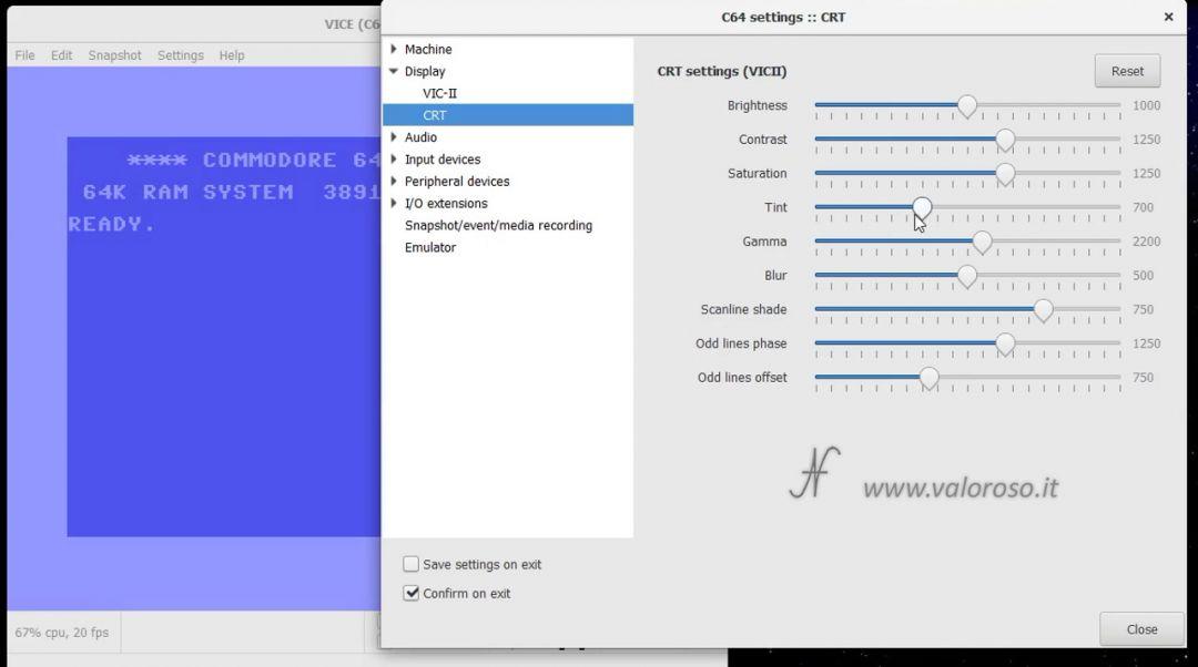 VICE emulatore per Commodore 64, viola cambiare colore tinta luminosita, Settings, Display, CRT, sistemare colore