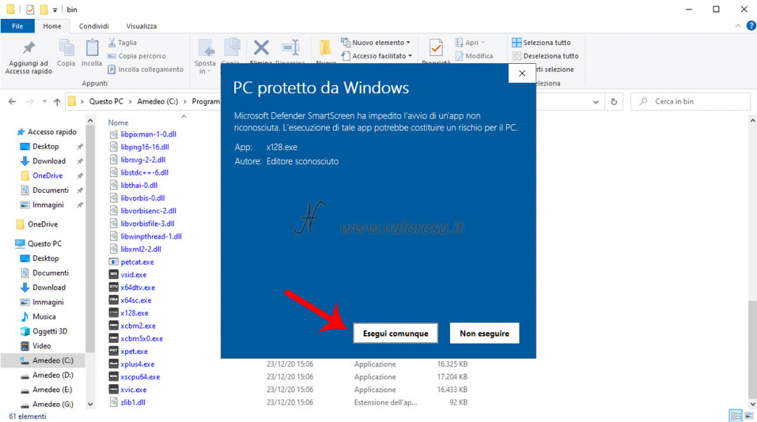 VICE emulatore per Commodore 8 bit, eseguire avviare comunque, windows defender smart screen