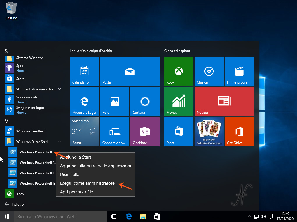 Windows 10, PowerShell, esegui come amministratore, cancellazione, disinstallazione, rimozione, app predefinite, app preinstallate, Tutorial, money, notizie, onenote, getoffice, store, xbox, film, notizie, solitaire collecion
