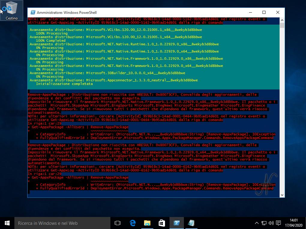 Windows 10, PowerShell, esegui come amministratore, cancellazione, disinstallazione, rimozione, app preinstallate, app predefinite, Tutorial, Get-AppxPackage -AllUsers | Remove-AppxPackage