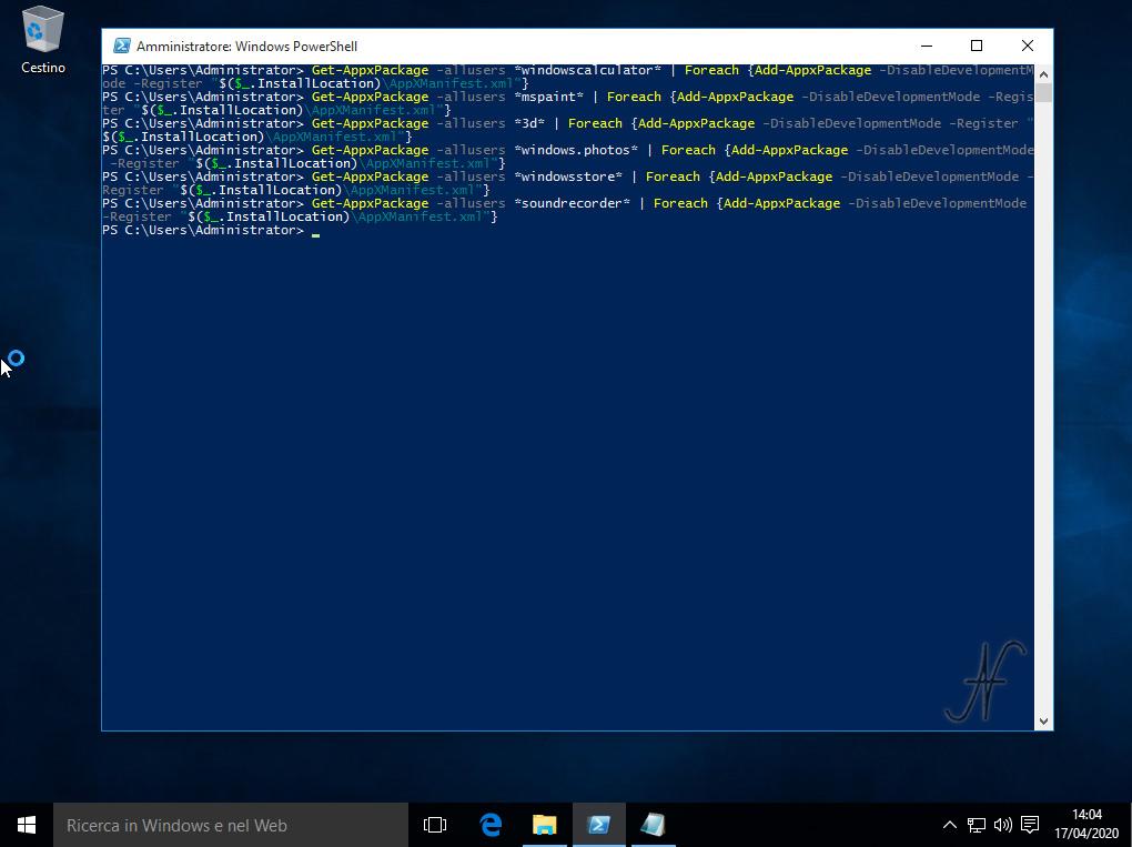 """Windows 10, PowerShell, esegui come amministratore, reinstallazione, installazione, ripristino, app preinstallate, Tutorial, Get-AppxPackage -allusers *windowscalculator*   Foreach {Add-AppxPackage -DisableDevelopmentMode -Register """"$($_.InstallLocation)\AppXManifest.xml""""}"""